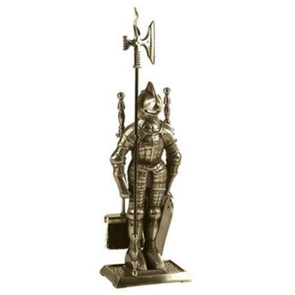 Набор каминный  К3050A  (Рыцарь, 4 предмета, античная латунь) - ПечиМАКС
