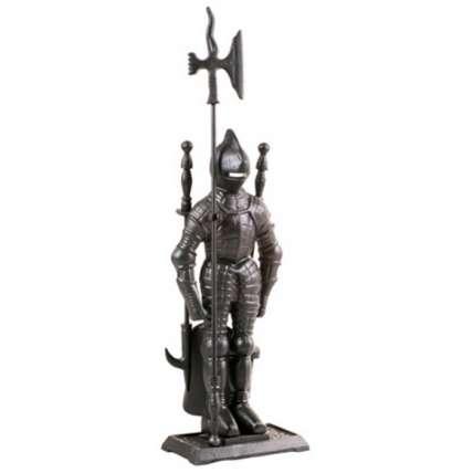 Набор каминный  К3050B  (Рыцарь, 4 предмета, черный ) - ПечиМАКС