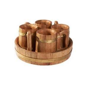 Деревянная пивная кружка 4 шт. (набор)