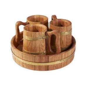 Деревянная пивная кружка 3 шт. (набор)