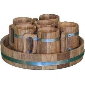 Деревянная пивная кружка 6 шт. (набор)