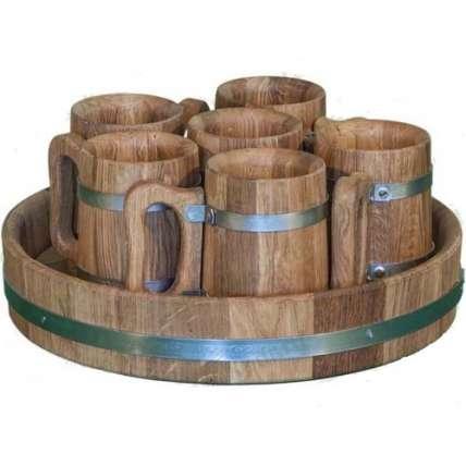 Деревянная пивная кружка 6 шт. (набор) - ПечиМАКС