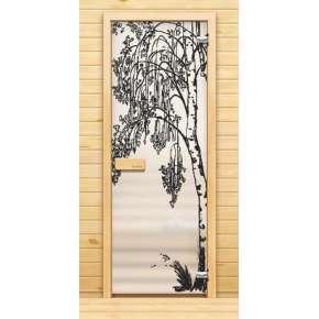 Стеклянная дверь для бани souvi «элит» Березка 190х70