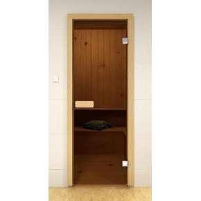 Дверь д/сауны S/M 690х1890 БРОНЗА МАТОВАЯ (сосна)