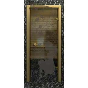 Стеклянная дверь для бани souvi серая Девушка с бабочками 190х70