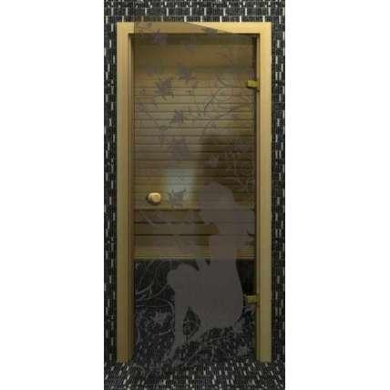 Стеклянная дверь для бани souvi серая Девушка с бабочками 190х70 - ПечиМАКС
