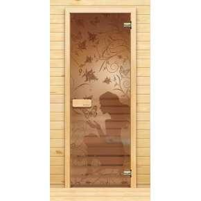 Стеклянная дверь для бани souvi «элит» Девушка с бабочками 190х70