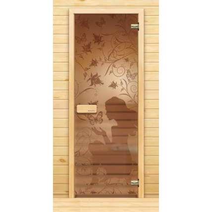 Стеклянная дверь для бани souvi «элит» Девушка с бабочками 190х70 - ПечиМАКС