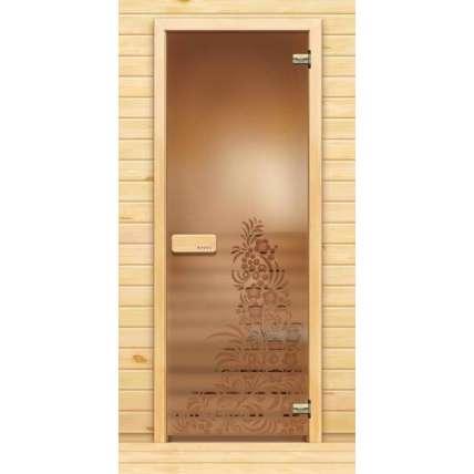 Стеклянная дверь для бани souvi «элит» Хохлома 190х70 - ПечиМАКС