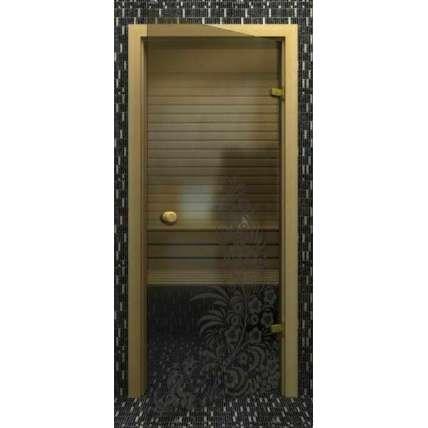 Стеклянная дверь для бани souvi серая Хохлома 190х70 - ПечиМАКС
