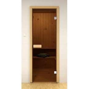 Стеклянная дверь для бани и сауны бронза 69х189 (сосна)