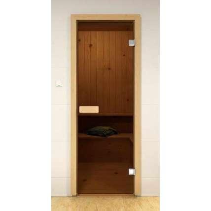 Стеклянная дверь для бани и сауны бронза 69х189 (сосна) - ПечиМАКС