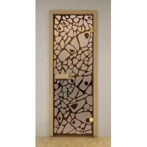 Стеклянная дверь для бани и сауны бронза Морское дно 69х189 (листв.)