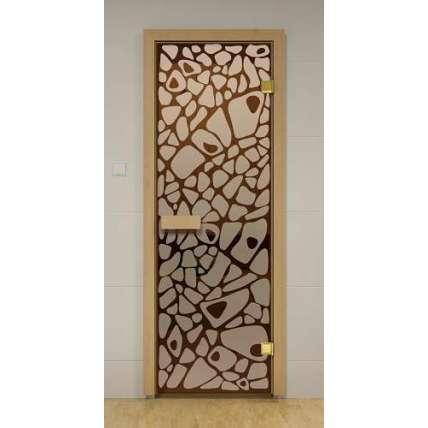 Стеклянная дверь для бани и сауны бронза Морское дно 69х189 (листв.) - ПечиМАКС
