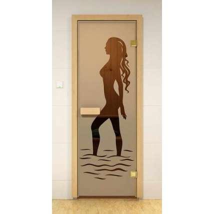 Стеклянная дверь для бани и сауны бронза Наоми 69х189 (липа) - ПечиМАКС