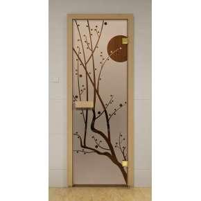 Стеклянная дверь для бани и сауны бронза Сакура 69х189 (липа)