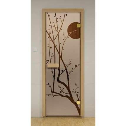 Стеклянная дверь для бани и сауны бронза Сакура 69х189 (липа) - ПечиМАКС