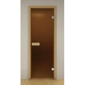 Стеклянная дверь для бани и сауны бронза матовая 69х189