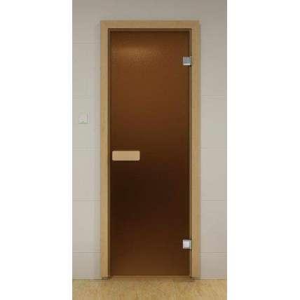 Стеклянная дверь для бани и сауны бронза матовая 69х189 - ПечиМАКС