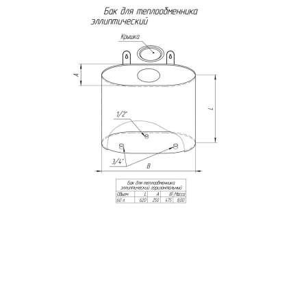 Бак Элит 60л эллиптический для воды (умывальник) - ПечиМАКС
