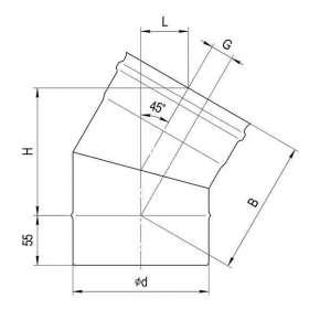 Колено (439|0,8 мм) угол 135° Ф100