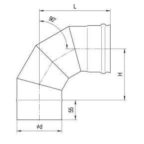 Колено для дымохода (нерж. сталь 0,5мм) угол 90° Ф115