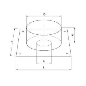 Потолочно проходной узел ППУ (нерж.сталь 0,5 мм) Ф200