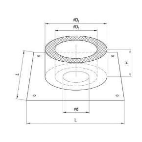 ППУ Потолочно проходной узел (нерж.сталь утеплен) Ф100