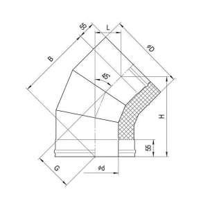 Сэндвич-колено 135°(430|0,8мм+н|ж.ст.) Ф200х110 по конденсату