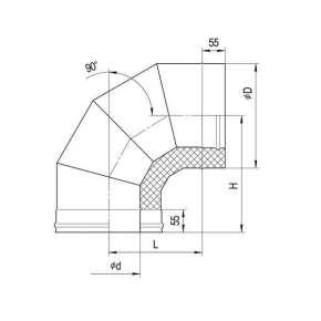Сэндвич-колено 90°(н|ж.ст.0,5мм+ оц.ст.)  Ф200х110 по конденсату