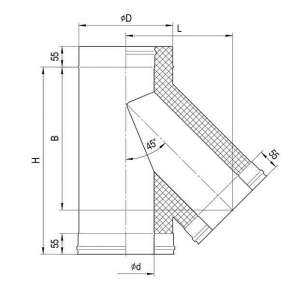 Сэндвич-тройник 135°(н|ж. ст.0,5мм+н|ж.ст) Ф200х110 по конденсату