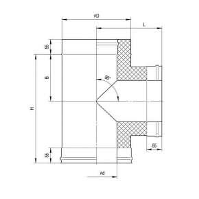Сэндвич-тройник 90°(н|ж.ст.0,5мм+н|ж.ст.) Ф200х110 по конденсату