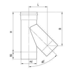 Тройник-К 135° (нерж. сталь 0,5мм) Ф115
