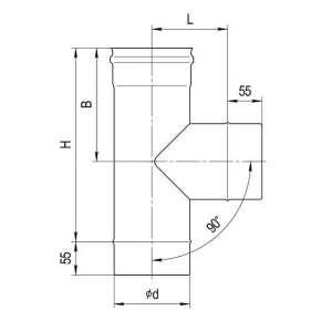 Тройник 90° (нерж. сталь 0,5мм) Ф100