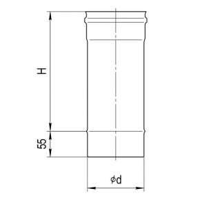 Дымоход (нерж. сталь 0,5мм) L=0,5м Ф100