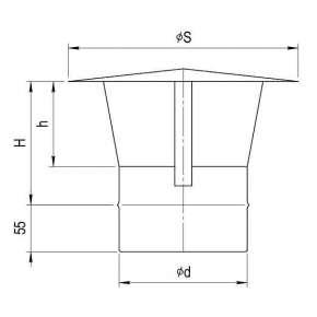 Зонт-Д (нерж. сталь 0,5мм) Ф120